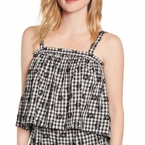 NWT Lou & Grey Floral Gingham Camisole black